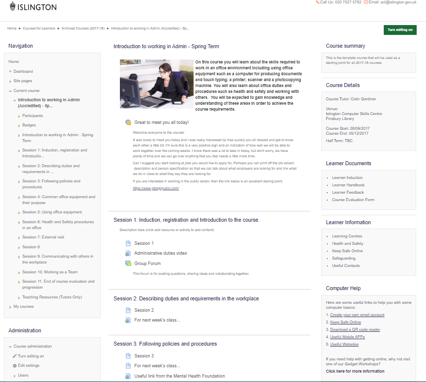 Example Moodle Course Screenshot